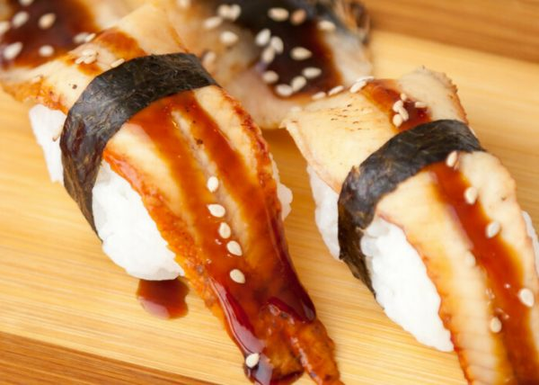 Japanese eel sushi with nori