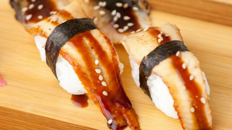Japanese eel sushi with nori