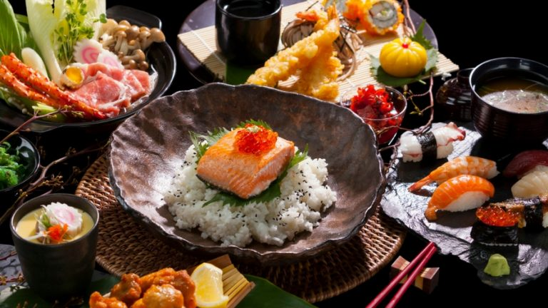 Japanese food using various condiments