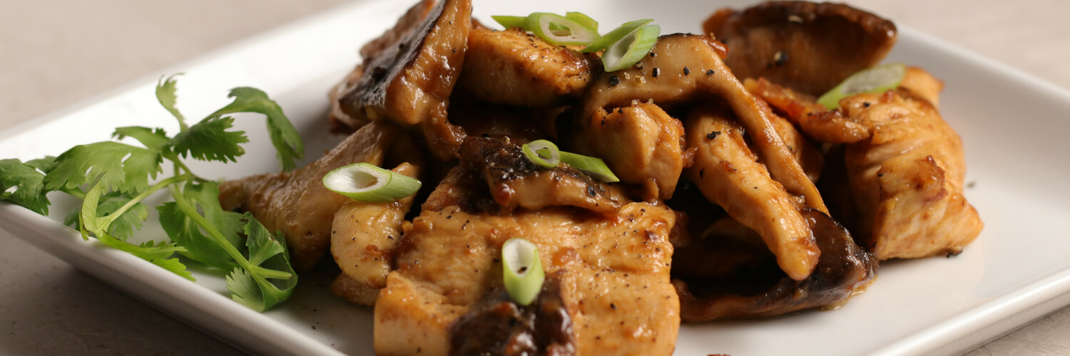 Shiitake and Chicken Saute in Soy Sauce Lemon