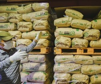 man in front of bags of crops