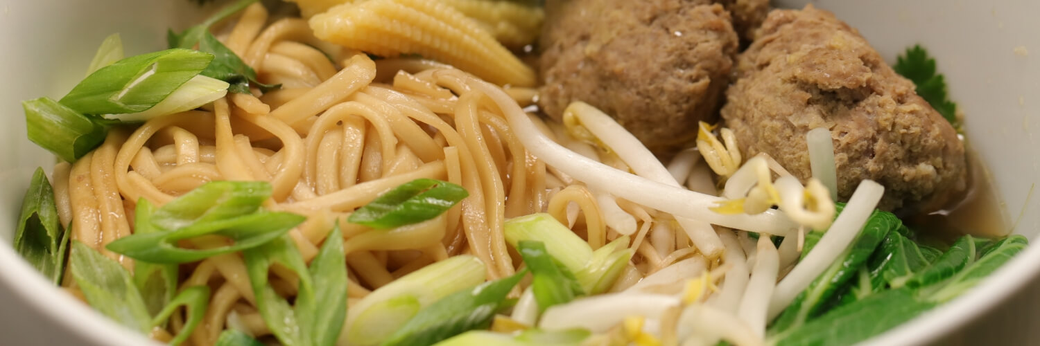 Udon Noodle Soup with Wasabi & Ginger Lamb Balls