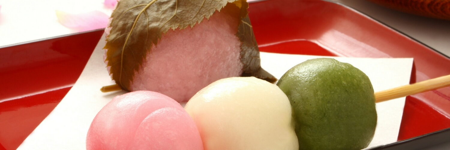 Variety of mochi sakuramochi and dango