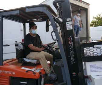 Truck drivers at Yama Seafood