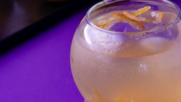 Yuzu Sour Shochu Yuzu Cocktail with yuzu peel
