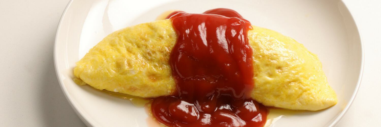 omurice omelet and ketchup rice
