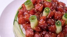 salmon and cucumber sushi cake