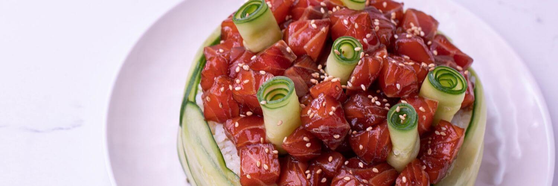 salmon and cucumber sushi cake