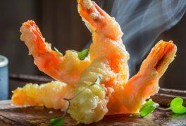 steaming shrimp tempura