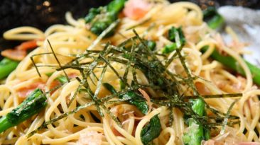 wafu pasta with seaweed and bacon asparagus